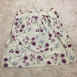 Alfred Dunner Beige Floral Skirt